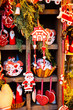 Christmas market kiosk details with santa claus figurine, retro toned