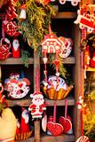Christmas market kiosk details with santa claus figurine, retro toned - 232116547