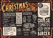 Christmas menu for burger restaurant, food template. - 232120798