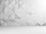 Abstract white interior with low poly mosaic - 232126125