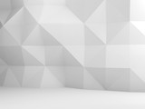 Abstract white interior background, low poly - 232126151