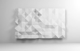 Abstract white interior with low poly mosaic - 232126156