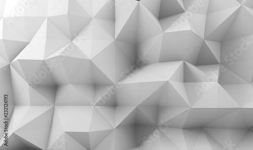 Abstrakcjonistyczna biała cyfrowa poligonalna powierzchnia 3d