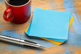 blank reminder note with a cup of coffee - 232127511