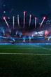 Leinwanddruck Bild - Empty American fotball field. celebrate win or touchdown. focus in grass. little unfocus in background