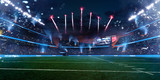 Empty American fotball field. celebrate win or touchdown. focus in grass. little unfocus in background - 232130118