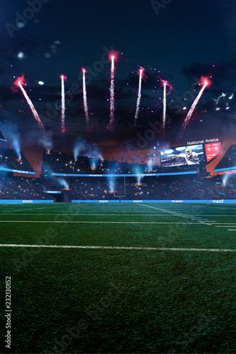 Leinwanddruck Bild Empty American fotball field. celebrate win or touchdown. focus in grass. little unfocus in background