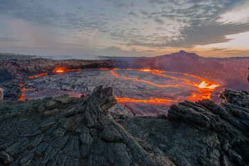 Ertale is the most active volcano of Ethiopia. This is one of the five famous volcanoes with a lava lake, as well as the world's only volcano, which has two lava lakes at once, which makes it unique. © mikhail cheremkin