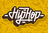 Hip Hop  Label Lettering Type Design. Vector Image.