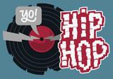 Hip Hop Design With A Broken Vinyl Record . Vector Image.