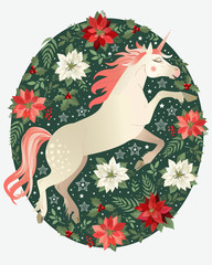 Head of hand drawn unicorn with floral wreath on white background.