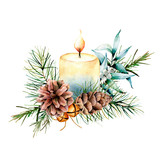 Watercolor Christmas candle with holiday decor. Hand painted floral composition with eucalyptus leaves, bells, pine cones and berries isolated on white background. Botanical illustration for design - 232135140