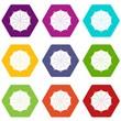 Round umbrella icons 9 set coloful isolated on white for web