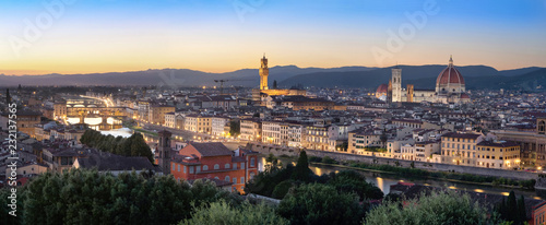 Florence, Italy. Aerial panorama of the city at dusk
