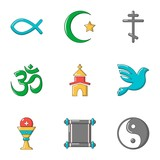 Theism icons set. Flat set of 9 theism vector icons for web isolated on white background