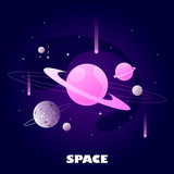 planets and stars. cartoon space banner. vector illustration. dark space and solar system.