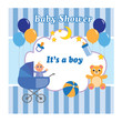 Baby shower boy card with a bear, a stroller, a toy and balloons. Vector illustration