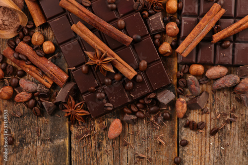 Poster chocolate bar and spices