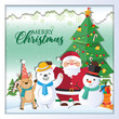 Christmas background with Santa Claus and the inscriptions Merry Christmas