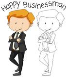 Doodle happy businessman character - 232143321