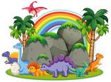 Many dinosaur  in nature - 232143502