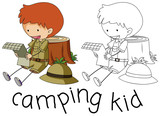 Doodle camping kid character - 232143534