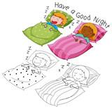 Doodle boy and girl sleeping - 232143576
