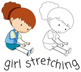 Doodle girl character stretching - 232143716