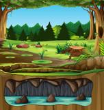 Beautiful green nature landscape - 232143903