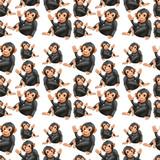 Playful ape seamless pattern - 232145190