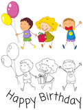 Doodle children celebrate birthday - 232146360
