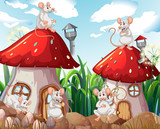 Mouse at mushroom house - 232146371