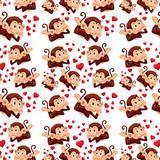 Cute monkey on seamless pattern - 232147120