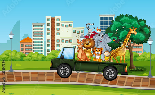 Wall mural Many wild animal on the truck