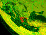 Greece on digital planet Earth from space with network. Concept of international communication, technology and travel.