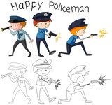 Doodle good policeman character - 232148328