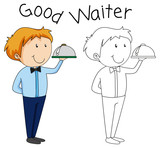 Doodle waiter character with serving tray - 232148352