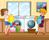 Young lady washing clothes - 232148357