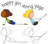 Set of doodle yoga girl - 232148508