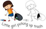 Doodle good girl pick up trash - 232148556
