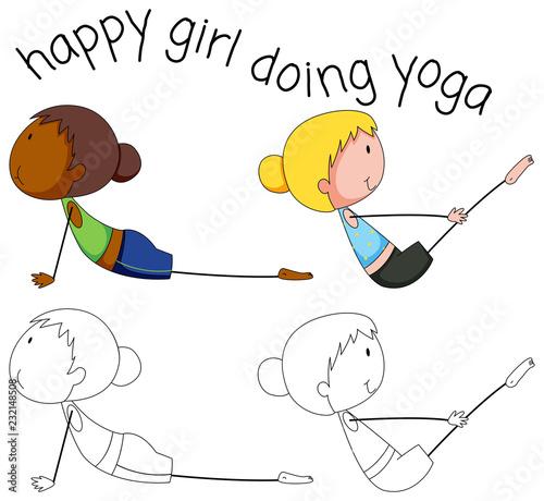 Poster Set of doodle yoga girl