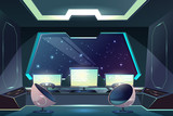 Future spaceship captains bridge, command post interior cartoon vector illustration with pilot steering wheel or helm in front of control screen, futuristic armchairs and starry space outside porthole - 232154124