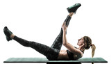 one caucasian woman exercising pilates fitness exercises isolated silhouette on white background - 232156901