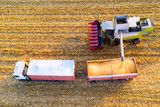 Aerial view of the harvesting wor - 232156904