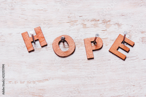 word hope of wooden letters