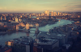 London aerial view with Tower Bridge, UK - 232160753