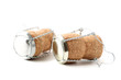 Champagne corks with caps isolated on white background