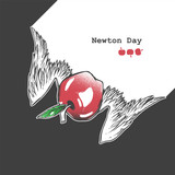 Graphic vector illustration with apple for Newton Day.  Falling apple with wings. Educational banner.