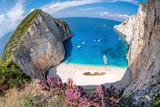 Navagio beach with shipwreck and flowers on Zakynthos island, Greece - 232166594