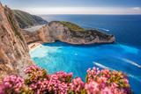 Navagio beach with shipwreck and flowers on Zakynthos island, Greece - 232166797